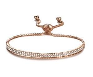 Rose Gold Friendship Cuff Bracelet Created with Swarovski Crystals