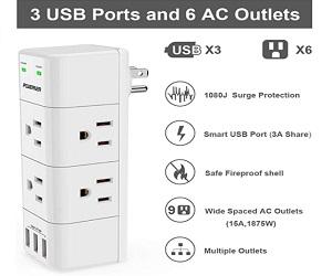 Rotating Plug and 3 USB Ports