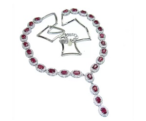Ruby Sterling Silver Handcrafted Necklace