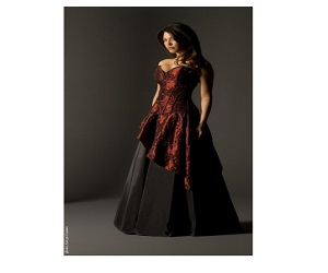 SIREN - WINE EMBROIDERED TAFFETA AND BLACK TAFFETA UNDER SKIRT