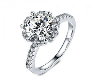 SIX CLAWS CUBIC ZIRCONIA 18K PLATINUM PLATED