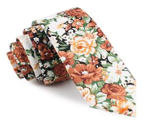 San Pietro Orange Floral Skinny Tie