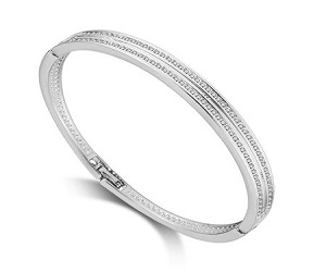 Silver Double Row Bangle Created with Swarovski Crystals