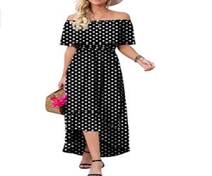 Summer  Flowy Polka Dot Shoulder Dress