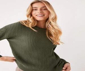 The SeaCell Cropped Sweater in Thyme Green