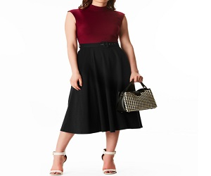 Two-Tone Cotton Knit Belted Dress