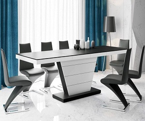Valance Matt Black And White Dining Table 160cm