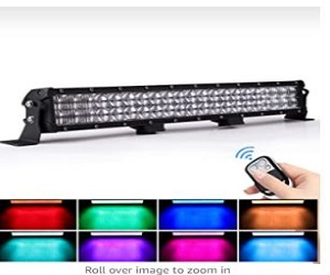 Spot Flood Beam RGB LED Work Light Bar Compatible with LED Driving Light for Offroad Truck