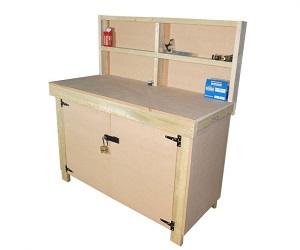 Wooden MDF Top Workbench With Lockable Cupboard