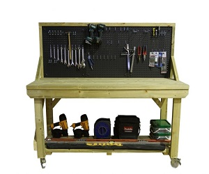 Wooden Pressure Treated Workbench With Peg Board