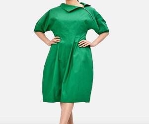 Zip Neck Cotton Poplin Pieced A-Line Dress