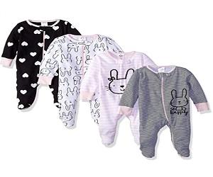 Baby Girls 4 Pack Sleep N Play Footie