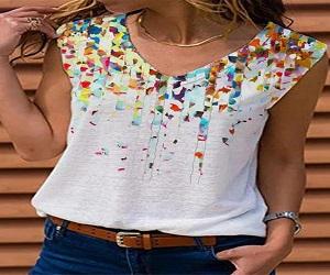 Printed V Neck Sleeveless T-shirt